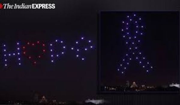 Drones light up Madrid sky to honour Covid-19 victims and frontline workers